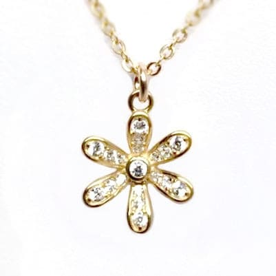 "Julieta Jewelry CZ Flower Gold Charm 16"" Necklace"