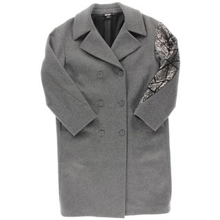 DKNY Womens Coat Wool Embellished