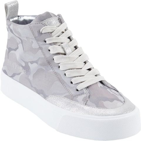 DKNY Womens Rivka High Top Sneakers Canvas Sporty - Camo Canvas Silver