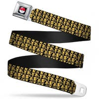 Pok Ball Full Color Black Mini Pikachu Silhouette Collage Black Yellow Seatbelt Belt