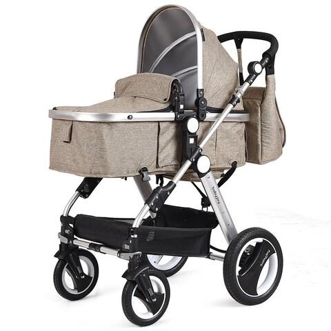 Costway Folding Aluminum Infant Baby Stroller Kids Carriage Pushchair w Diaper Bag Khaki