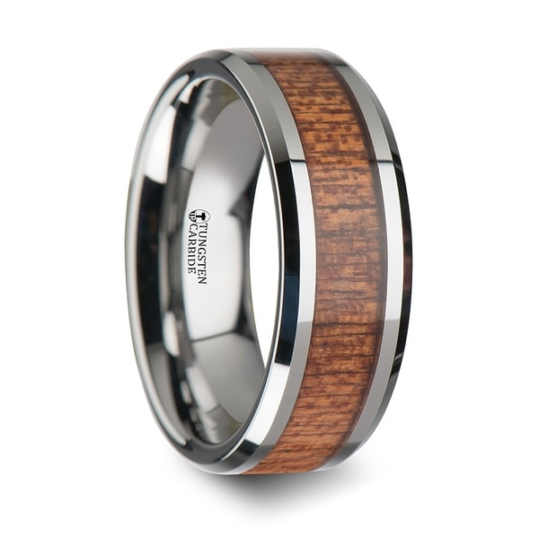 THORSTEN - CONGO Tungsten Wedding Band with Polished Bevels and African Sapele Wood Inlay