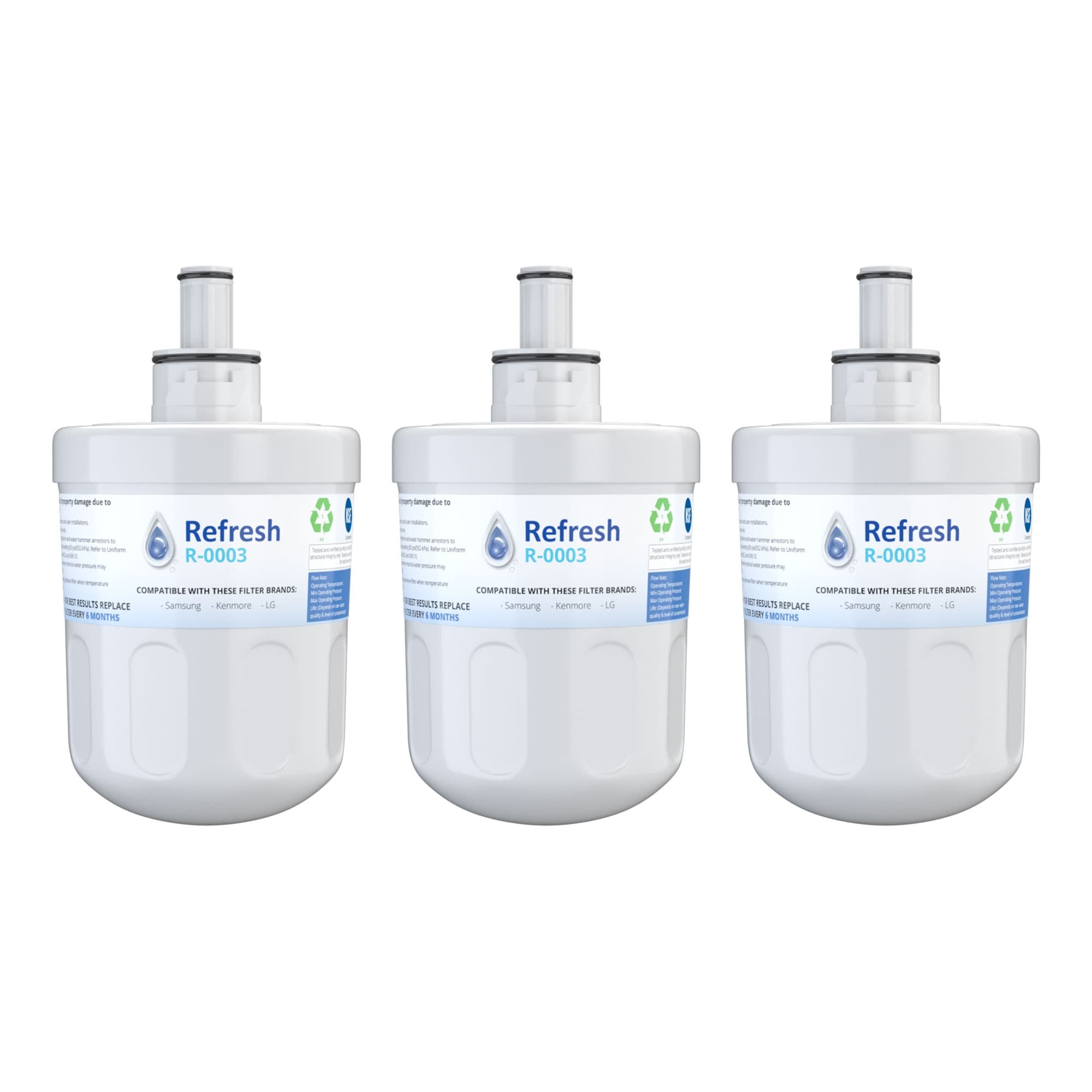 Refresh Replacement Water Filter 6 Pack Fits Samsung EFF-6011A Refrigerators