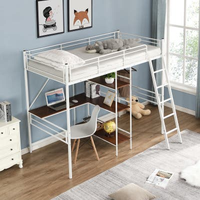 Metal Loft Bed with MDF Built-in-Desk and Three-tier Shelves,Twin