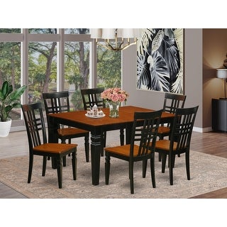 Link to WELG7-W  7 Pc Dining set with a Kitchen Table and 6 Wood Chairs Similar Items in Dining Room & Bar Furniture