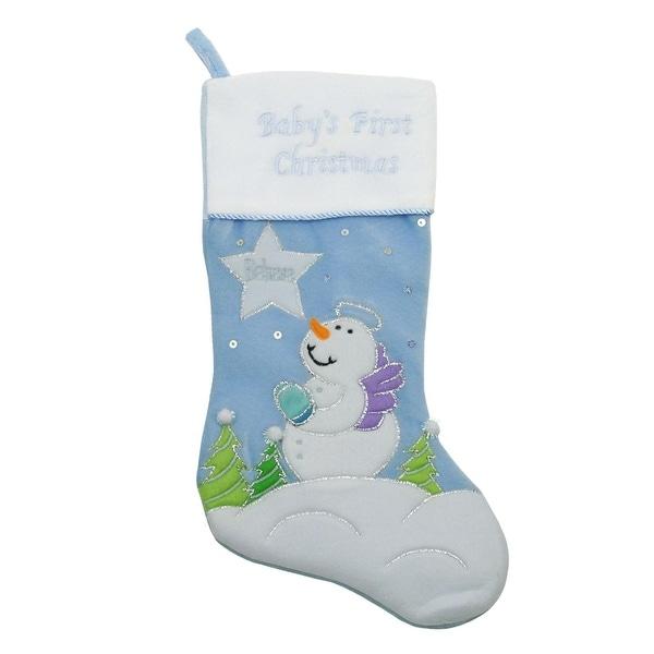 """20"""" Light Blue """"Baby's First Christmas"""" Velveteen Snowman Angel Christmas Stocking"""