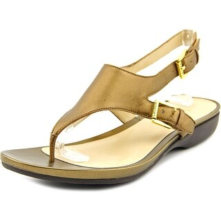 Lauren Ralph Lauren Kasia Women  Open Toe Leather Gold Thong Sandal