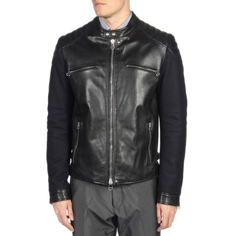 Lanvin Mens Contrast Panel Lambskin Leather Biker Jacket X-Large (IT 54) Black