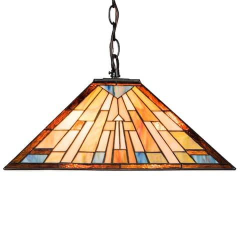 Costway Tiffany Hanging Lamp 2-Light Ceiling Pendant w/ 16 Inch - 16''(W) x 16''(L) x 67''(H)