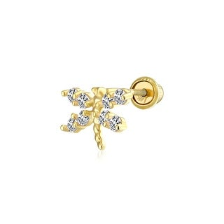 Link to Dragonfly Butterfly Cartilage Earring Cubic Zirconia CZ 14K Gold Screwback Similar Items in Body Jewelry Shop