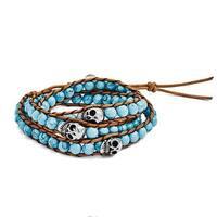 Chisel Stainless Steel Polished Cord Imitation Turquoise/Skulls Wrap Bracelet