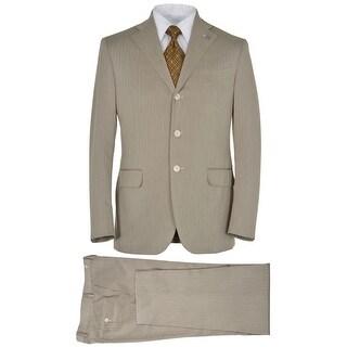 Eidos Napoli By Isaia Beige Herringbone 2 pc Suit 40 Regular Pants 34W