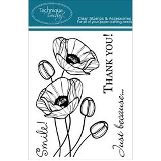 """Budding Poppies - Technique Tuesday Clear Stamps 3""""X4"""""""