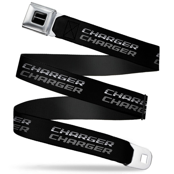 Charger Text Charger Double Repeat Black Gray Webbing Seatbelt Belt Fashion Seatbelt Belt