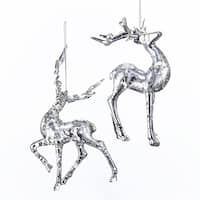 Club Pack of 12 Silver Glittering Reindeer Ornaments 6""