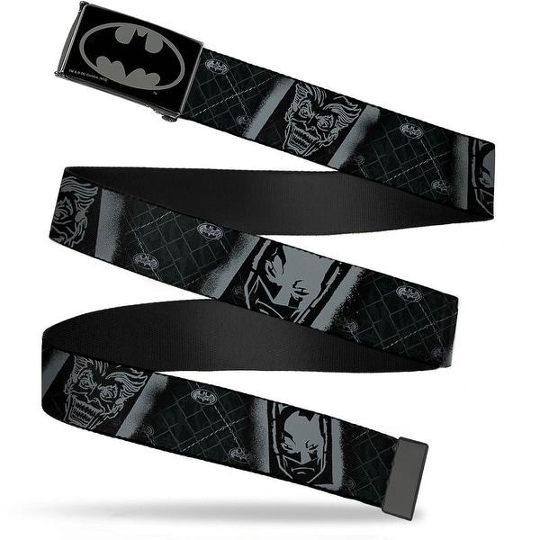 Batman Reverse Brushed Black Silver Black Chrome Batman & Joker Spray Web Belt