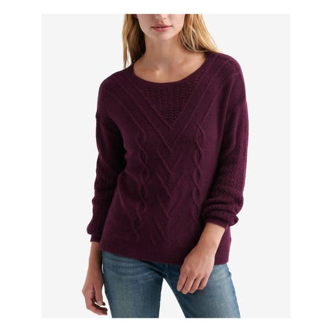 LUCKY BRAND Womens Burgundy Cable Knit Long Sleeve Jewel Neck Sweater Size: XS