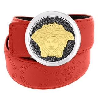 Red Leather Belt With Gold Tone Greek Medusa Buckle 2 Tone 27mm Custom Style