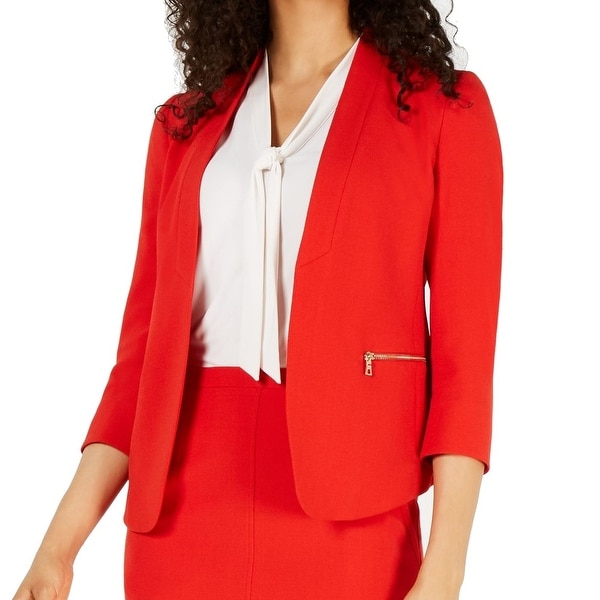 Anne Klein Womens Blazer Jacket Red Size 10 Zip-Pockes Crepe Open-Front. Opens flyout.