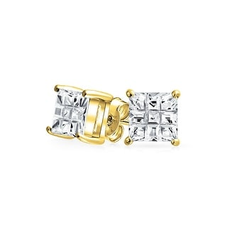 Bling Jewelry Invisible Cut Checkerboard Square CZ Gold Plated 925 Silver Studs 6mm