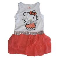 Hello Kitty Little Girls Orange White Sequined Applique Waistband Dress 4-6X