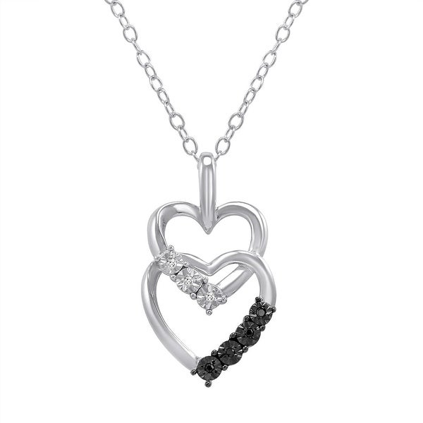 Amanda Rose Black and White Double Heart Diamond Pendant in Sterling Silver