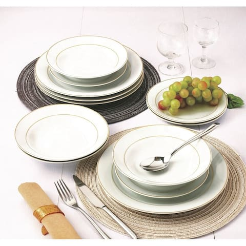 12-Piece Traditional Gold rim and white Porcelain Dinnerware Set (Service for 4)