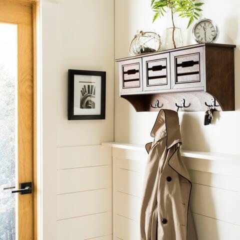 "SAFAVIEH Leon Honey Hanging 3-drawer Wall Rack - 28"" x 7.8"" x 12"""