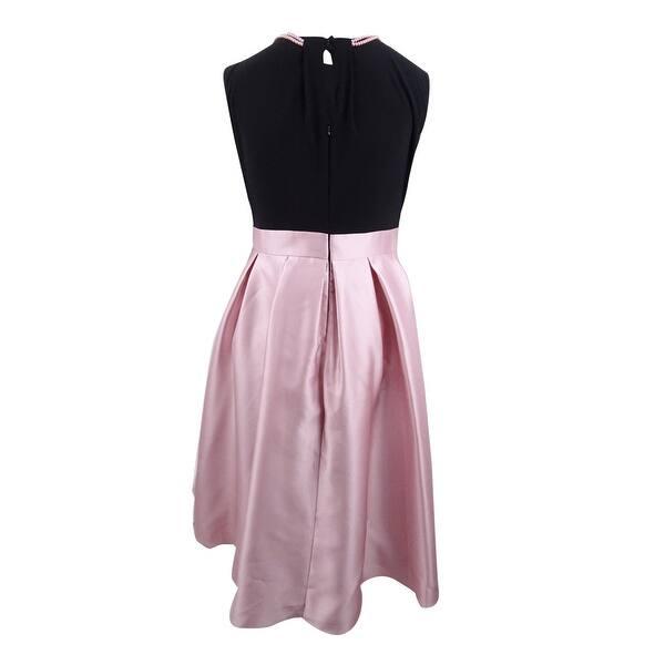 SL Fashions Women\'s Plus Size Mikado Satin High-Low Dress - Black/Petal