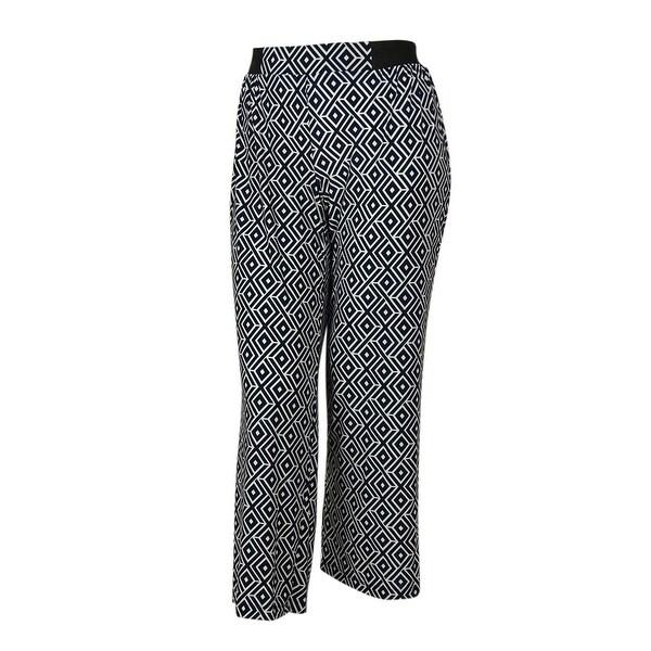 INC International Concepts Women's Patterned Stretch Fabric Pants - diamondback geo