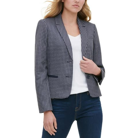 Tommy Hilfiger Womens Two-Button Blazer Suit Separate Business - Blue