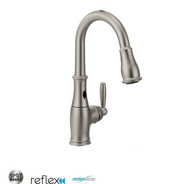 shop moen 7185e single handle touchless pullout spray kitchen faucet rh overstock com