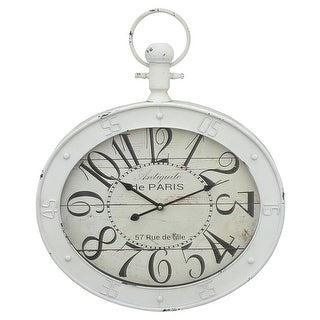 Three Hands Distressed White Oval Metal Wall Clock