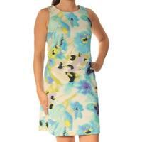 INC Womens Blue Floral Sleeveless Crew Neck Above The Knee Sheath Dress  Size: 4