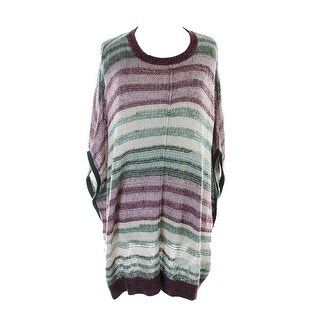Two By Vince Camuto Multi Marled Striped Poncho Sweater L-XL