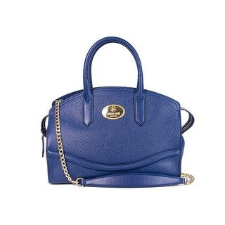 Roberto Cavalli Blue Grained Leather Large Boston Tote Bag
