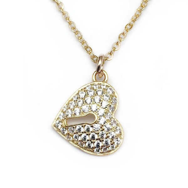 "Julieta Jewelry CZ Lock Heart Gold Charm 16"" Necklace"