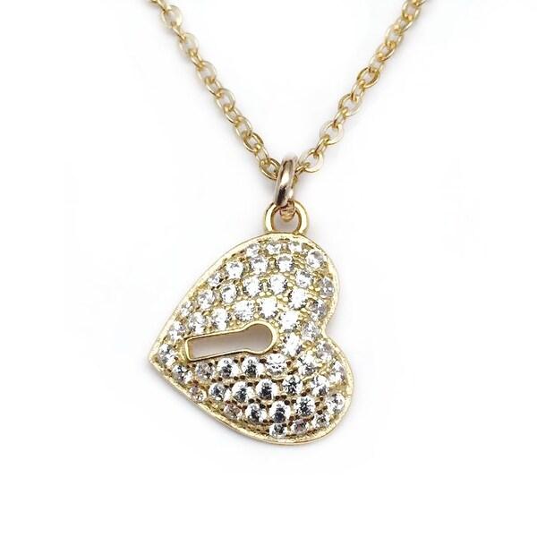 """Julieta Jewelry CZ Lock Heart Gold Charm 16"""" Necklace"""
