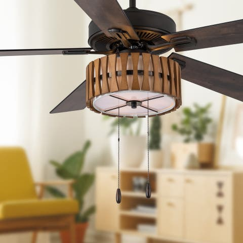 """Adan River of Goods Oil Rubbed Bronze Metal and Wood 52-inch 3-Light Ceiling Fan - 52"""" x 52"""" x 13.75""""/18.75"""""""