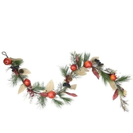"""6' x 10"""" Autumn Harvest Mixed Pine Berry and Nut Thanksgiving Fall Garland - Unlit"""