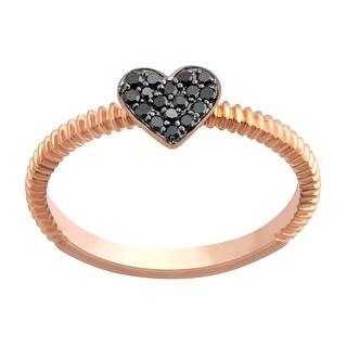 Prism Jewel Round Black Diamond Heart Shaped Valentine Ring