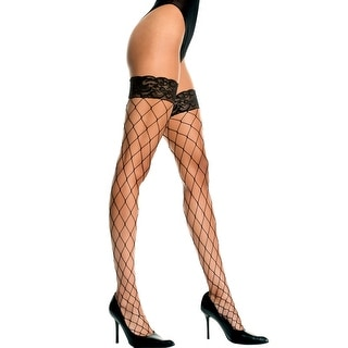 Fence Net Thigh Highs With Lace Top, Lace Top Fishnet Thigh Highs
