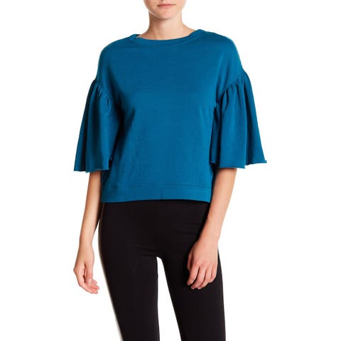Abound Blue Womens Size Small S Pleated Sleeve Crewneck Blouse
