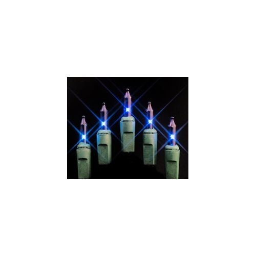 Christmas at Winterland MINI-100-4-B 33 Foot String of Blue Mini Incandescent Lights with 4 Inch Spacing and Green Wire Indoor /