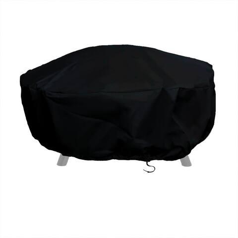Sunnydaze Durable Round Fire Pit Cover - Long-Lasting PVC - Black - 48-Inch