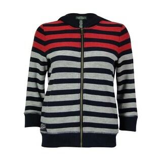 Lauren by Ralph Lauren Women's Striped Hooded Sweater - Red Multi
