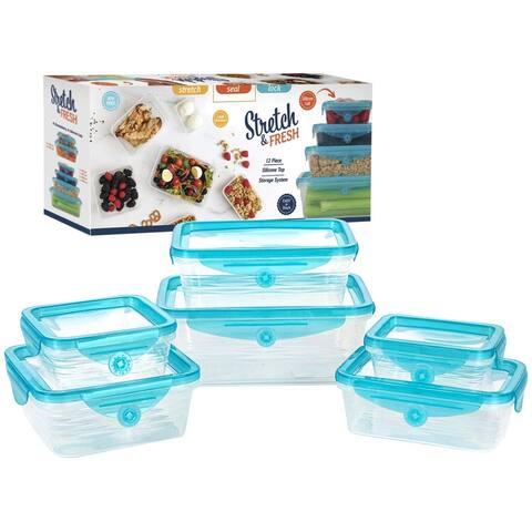 STRETCH and FRESH Silicone Food Storage System-12pcs - Blue