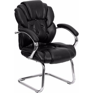 Offex Black Leather Transitional Side Chair with Padded Arms and Sled Base [OF-GO-908V-BK-SIDE-GG]