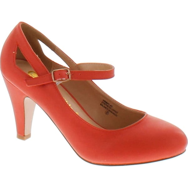 Chase & Chloe Women's Kimmy-40 Mary Jane Round Toe Pumps - Coral