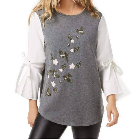 Kensie White Ivory Gray Floral Bell Sleeve Small S Sweater Blouse